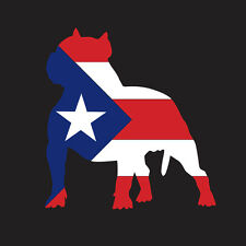 PUERTO RICO CAR DECAL STICKER PIT BULL with FLAG  #292