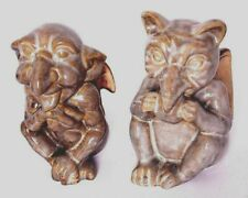 """Two Gothic Winged Gargoyle Creatures 5-1/2"""" Tall Ceramic Pottert Statues"""
