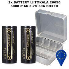 2x BATTERY LIITOKALA Lii 26650 5000mAh 50A 3.7v RECHARGEABLE BATTERIA + HARD BOX