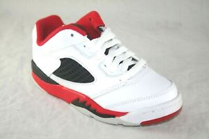 YOUTH JORDAN RETRO 5 LOW (PS) 314339-101 WHITE/FIRE RED ACTIVE SNEAKER