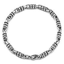 【from USA】Rocker Biker Gothic Tribal Byzantine Silver Stainless Steel Bracelet