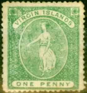 Virgin Islands 1868 1d Yellow-Green SG8 Fine Unused