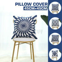 18''x 18'' Cotton Linen Embroidery Cushion Cover Pillow Case Home Sofa Decor