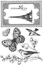 Bonjour Eiffel Tower Frame AimerLaVi Clear Stamps Kaisercraft Paris Free Post oz