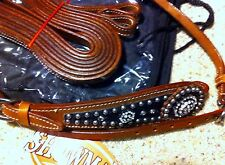 New Showman leather Horse headstall bridle with Black Rhinestone Conchos #7122