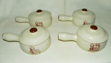 "4 Holly Hobbie ""Hearth and Home"" Oven Proof Casseroles with Handles Korea 1979"