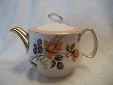 vintage gibson yellow orange rose floral teapot with gold handle and spout  wow/