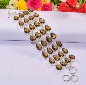 "925 Sterling Silver Smoky Quartz Gemstone Handmade Jewelry Bracelet S-7-8"""