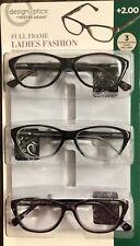 Design Optics Ladies Fashion Full Frame 3 Reading Glasses Cases UV +2.00 *OPEN