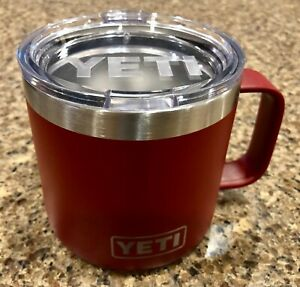 YETI 14 oz Brick Red Rambler Mug Insulated Metal Stainless Cup w/Lid Good Cond