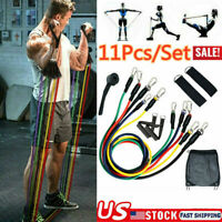 Resistance Bands 11piece Set Yoga Pilates Abs Exercise Fitness Workout Tube Kits