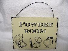 Hanging Wall Door Sign Plaque Powder Room Bathroom Wash Room Vintage Style