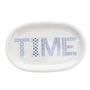ILARIA.I ABC TRAY Porcelain Plate Printed 'TIME' Made in Italy