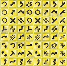 """4 Sheets 12""""x12"""" Cardstock Stickers Reminisce Road Signs Yellow Arrows  RSI-106"""