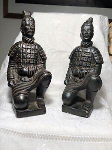 Pair Of Kneeling Archer Terracotta Warrior - Xi'an / Xian - Large Approx 27 cm