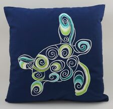 "Nautical Embroidered Pillow Cover - Sea Turtle - 18"" x 18"" - Navy - Beach Decor"