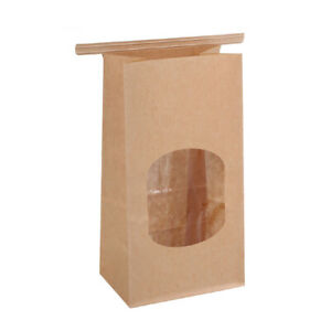 50Pcs Bakery Bags with Clear Window Sealing Grease Proof Kraft Paper Food Bag