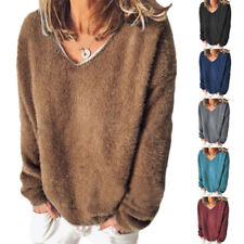Women Long Sleeve Fleece Sweater Tops Loose Casual Ladies Jumper Pullover Blouse