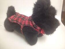 BLACK SCOTTISH TERRIER Plush Dog W/ Bow Tie & Flannel, Mac Kenzie #23798.