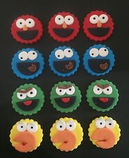Sesame Street Edible fondant Cupcake toppers x 12 elmo cookie Big bird oscar