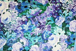 LARGE, BRIGHT FLORALS IN BLUE, PURPLE AND WHITE - 100% COTTON FABRIC
