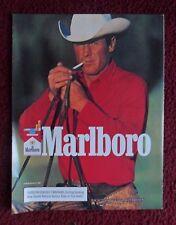 1987 Print Ad Marlboro Man Cigarettes ~ Western Cowboy w/ White Hat & Red Shirt