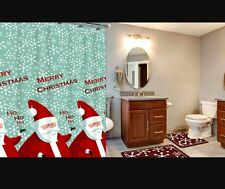 15-Piece Holiday Santa Christmas Bath Set with Mats Shower Curtain and Rings