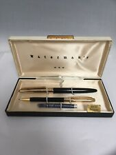 Vintage WATERMAN'S De Luxe Fountain Pen & Mechanical Pencil Set with Box