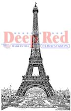 Deep Red Stamps Vintage Paris Eiffel Tower Rubber Cling Stamp