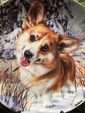 """#Mint Danbury Limited Welsh Corgi Plate """"Snow Buddy"""" Numbered Collector Plate"""