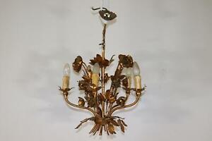 Florentinische Hängelampe Schmiedeeisen vergoldet Rosenblüten 1960er J. (MÖ3566)
