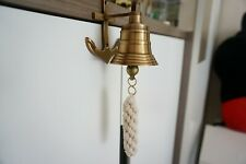 Vintage Wall Mount Nautical Brass Ship Bell With Anchor Bracket