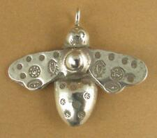 Large bumble bee pendant. Fine silver. 3 dimensional. Tribal. Handmade.