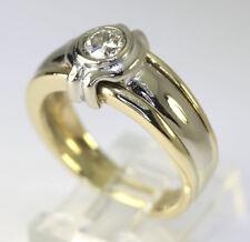 Mens diamond solitaire ring 14K 2 tone gold 1 round brilliant .60CT 8.5 GM sz 9