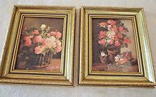 """Pair Framed Pink Floral Still Life Lithos Ornate Gold Frames 11""""x13"""" Unused"""