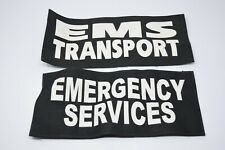 "2 Large Uniform or Bags Velcro Patches: EMS Transport & Emergency Service 13""x6"""