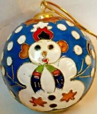 Christmas Decorative Cloisonne Ball Ornament Blue Enamel with Snowman