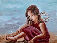 Art original  oil painting girl playing in a sand beach ocean kids