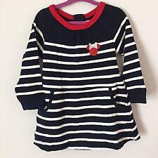 NWT BABY GAP DISNEY Minnie Sweater Holiday Dress 2T Navy Stripes Red