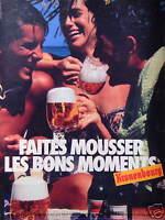 PUBLICITÉ 1985 BIÈRE KRONENBOURG FAITES MOUSSER LES BONS MOMENTS