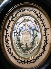 ANTIQUE VICTORIAN HAIR ART PICTURE 1905 TOMB GRAVE MOURNING MEMENTO MORI FRAME