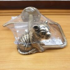 Brass Toilet Tissue Paper Holder Tiger Figurine Wall Mounted ฺVintage Home Decor