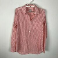 J. Crew Blouse Womens Size 2 Pink ish Orange Striped Roll Tab Long Sleeve Top
