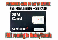 Verizon Wireless Unlimited 4G LTE $65 Plan with No Throttling and First Month