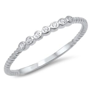 Sterling Silver Cubic Zirconia Dainty Stackable Textured Band Ring