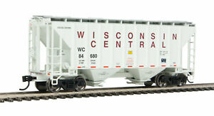 HO Scale - WALTHERS 910-7972 WISCONSIN CENTRAL 37' 2-Bay Covered Hopper Car