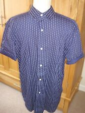 Mens NEXT Navy Blue White Patterned Short Sleeve Shirt Relaxed Fit Size M VGC