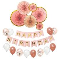 Rose Gold Birthday Party Decorations Set Birthday Banner Confetti Balloons 19pcs