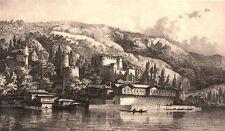 Istanbul ANADOLUHISARI CASTLE FORTRESS BEYKOZ Bosphorus River, Antique Art Print