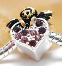HANDMADE SILVER EUROPEAN Charm Bead for Bracelet guardian ANGEL H15 HEART NEW